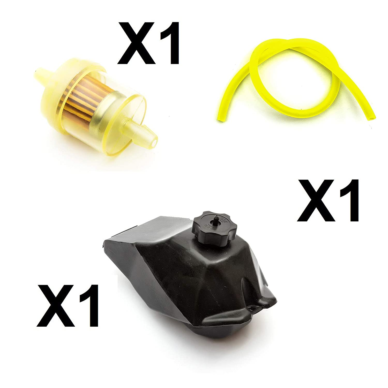 49cc Mini Midi Pocket ATV Bike Fuel Gas Tank Yellow Pipe Hose Filter Minimoto Petrolscooter