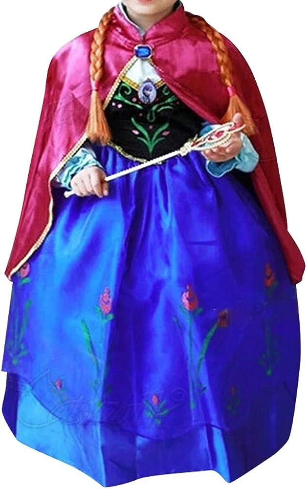Alva Shop Prinzessin Kost/üm Kinder Glanz Kleid M/ädchen Weihnachten Verkleidung Karneval Party Halloween Fest