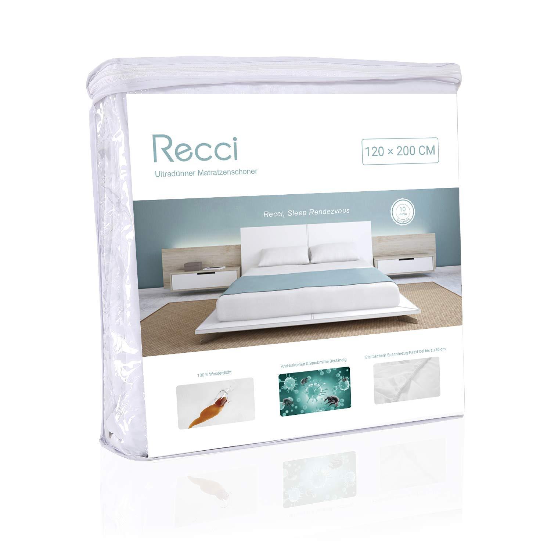 contra incontinencia Blanco Protector de colch/ón ultrafino resistente al agua 60 x 120 cm poli/éster en distintos tama/ños de Recci