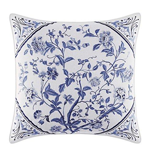 - Laura Ashley Beautiful Charlotte 16-inch Decorative Pillow - Blue, White