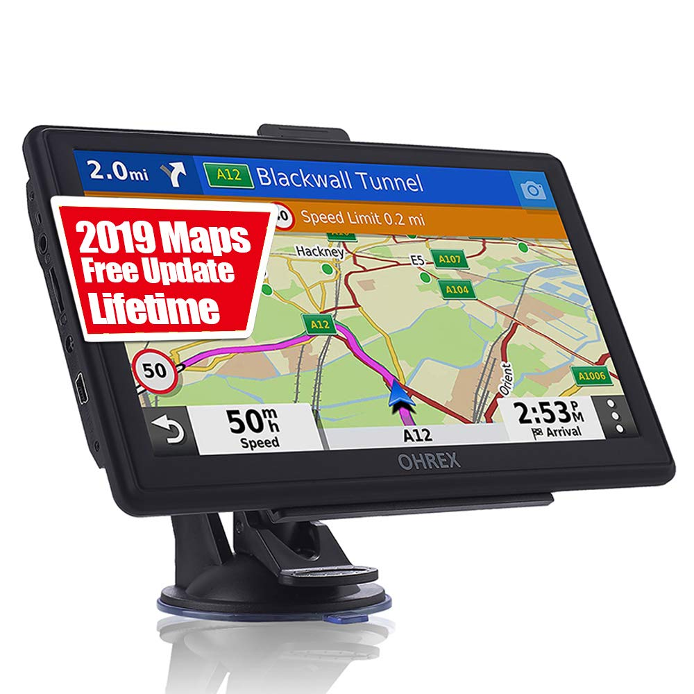 GPS Navigation for Car Truck RV, 7 Inch Touch Screen Vehicle GPS, Free Lifetime Maps of North America USA Canada Mexico, Lane Assistance, Spoken Turn-by-Turn Directions Ohrex Navigation System by OHREX