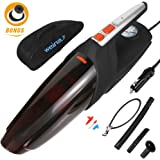 Car Vacuum Cleaner, Handheld Vacuum 5000PA Super Strong Suction Wet - Dry Auto Vacuum Cleaner Inflator / Tire Pressure Gauge 14.76 Foot Cord Carrying Bag Extra Filter