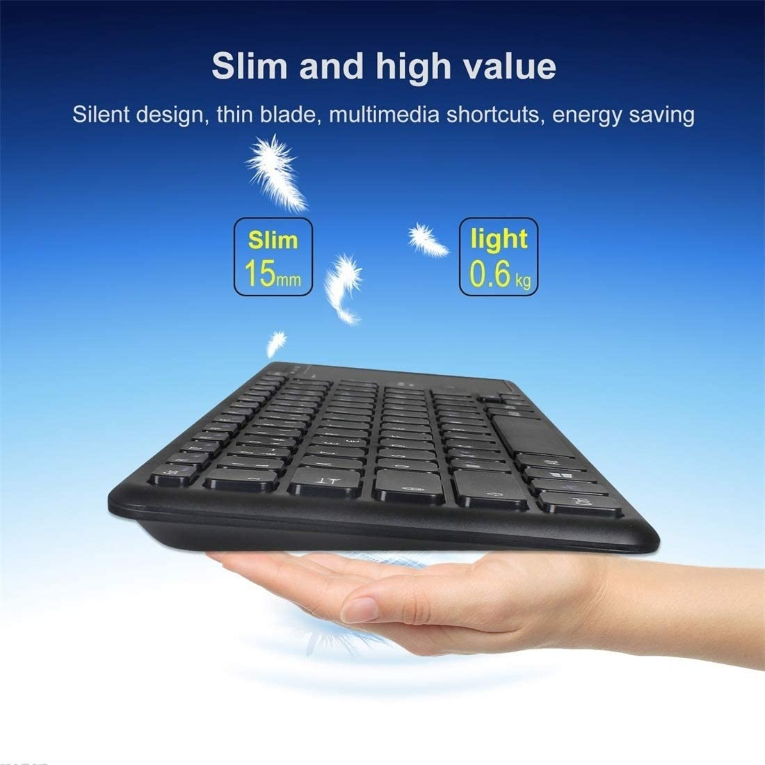 Color : Black HUIFANGBU L200 2.4G Wireless English Keyboard with Touchpad Black Support PC//TV