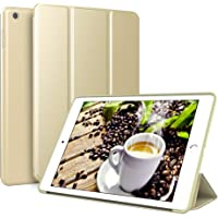 Kenke iPad case 9.7 for 2017/2018,Ultra Slim Lightweight Smart Case TPU Soft Silicone Stand with Auto Sleep/Wake for iPad Cover 9.7 inch iPad 5th/6th Generation (Gold)