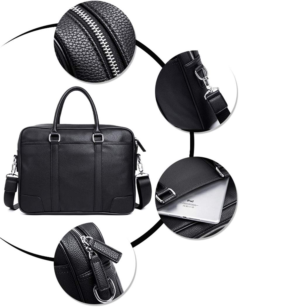 WEIXIER-bag herrhandväska portfölj affärshandväska stor kapacitet datorväska-axel-kurirväska män PU-läder-axelväska väska SVART