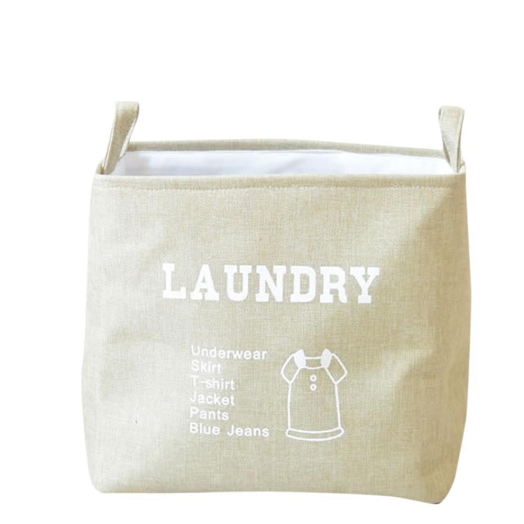 Waterproof PE Sundries Toy Basket Shopping Bag Folding Storage Box Bag (Beige)