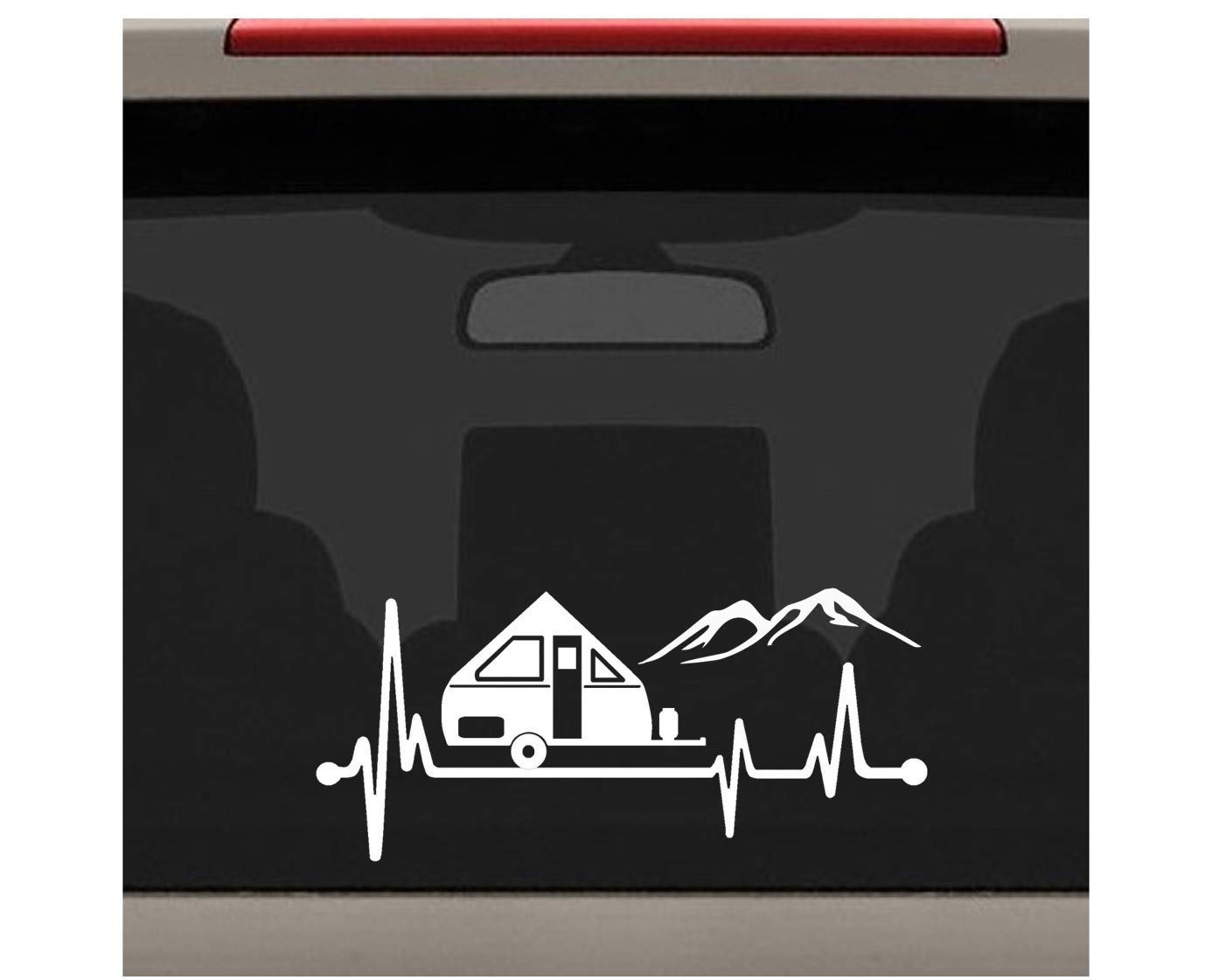 A Frame Camper Heartbeat Lifeline Decal Sticker for Car Window 8.0 Inch BG 541