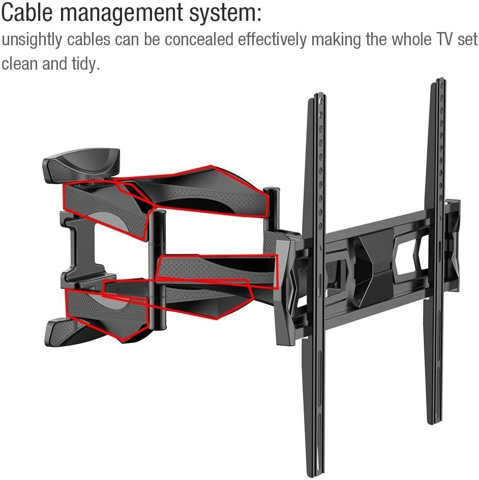 Fleximounts Articulating Full Motion Tilt TV Wall Mount for Samsung Coby LG TCL Haier VIZIO Hisense Sharp Sony Toshiba Seiki LCD LED Tv 32 -50 A20F 32 -50