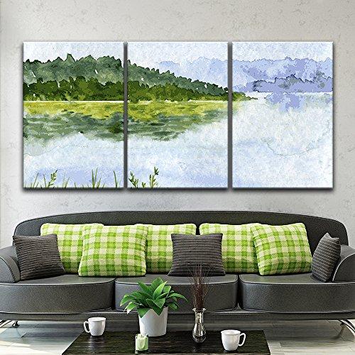 3 Panel Watercolor Style Mountain Trees Calm Lake x 3 Panels