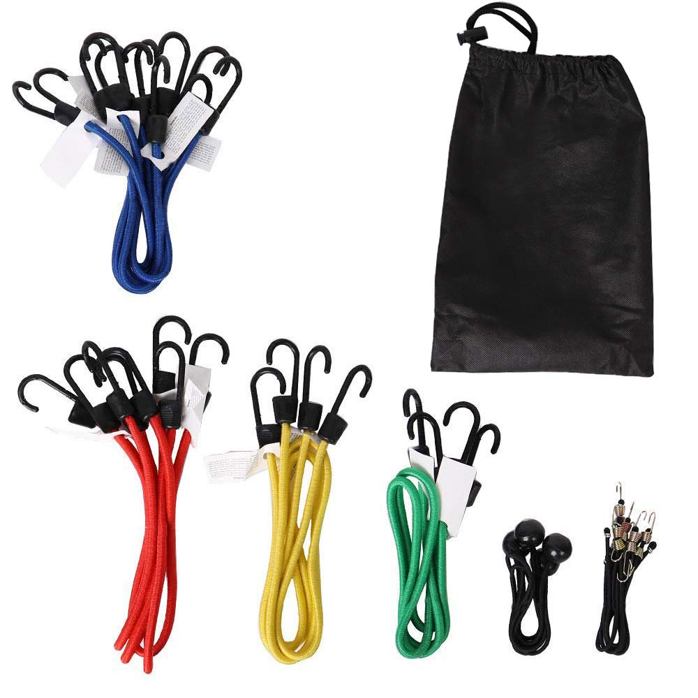 XSTRAP 18 pcs Elastic Bungee Cords Set with Finger-Hole Design Ensure 3-Time Strength Comes in 2pcs Steel Rings