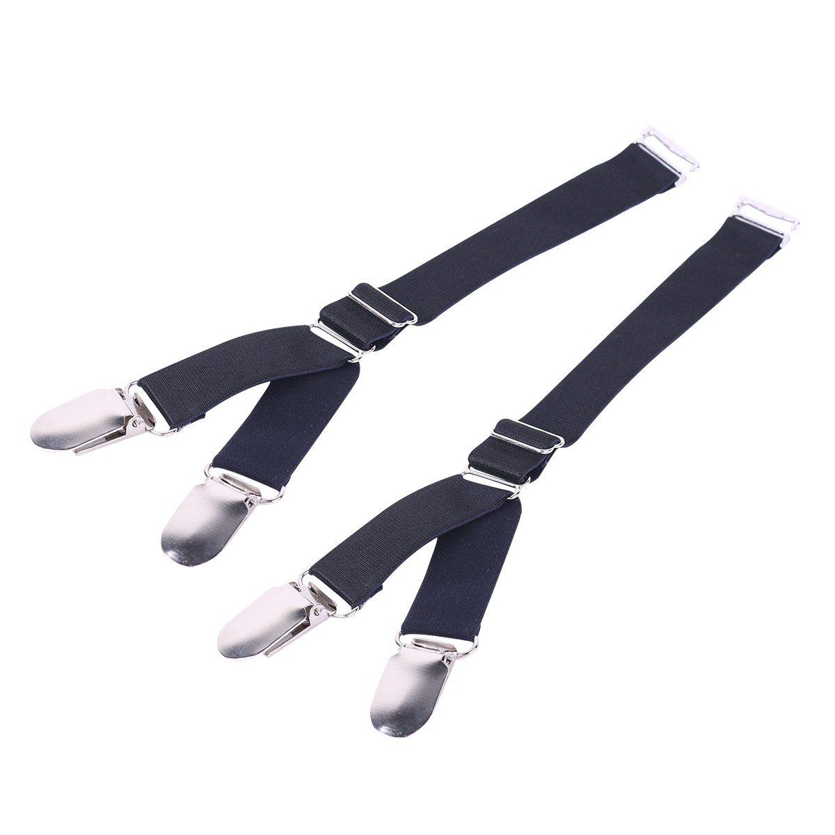 TiaoBug Suspender Clip Garters Straight Style & Y Style Stocking Holders with Duck-Mouth Metal or Plastic Clip Y Style, Duck-Mouth Metal Clip (2 Pcs) One Size