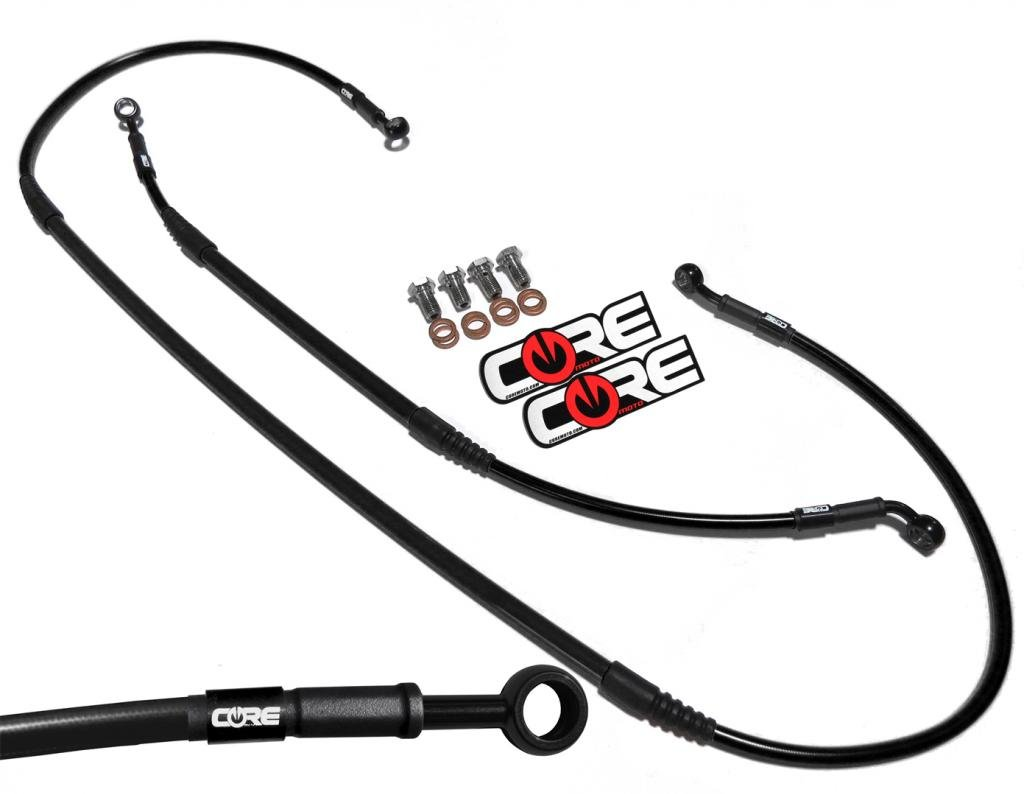 Core Moto CC0017-BK MX Front and Rear Brake Line Kit - Black for CRF250R (10-16)/CRF450R (09-16)