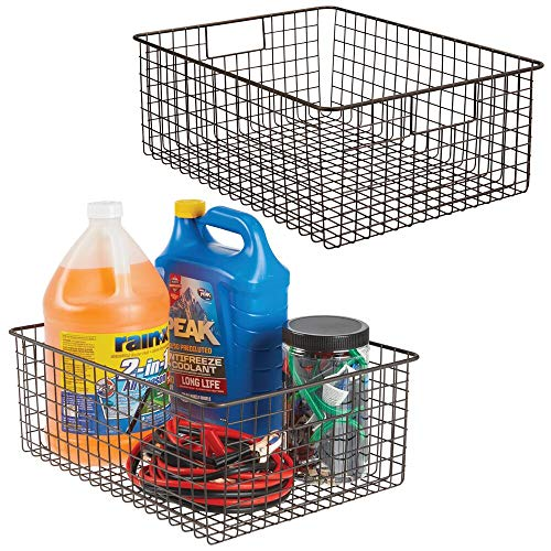 "mDesign Large Farmhouse Decor Metal Wire Garage, Home Organizer Storage Bin Basket - for Cabinets, Shelves, Countertops, Bathroom, Bedroom, Kitchen, Laundry Room, Closet - 16"" Long - 2 Pack - Bronze from mDesign"