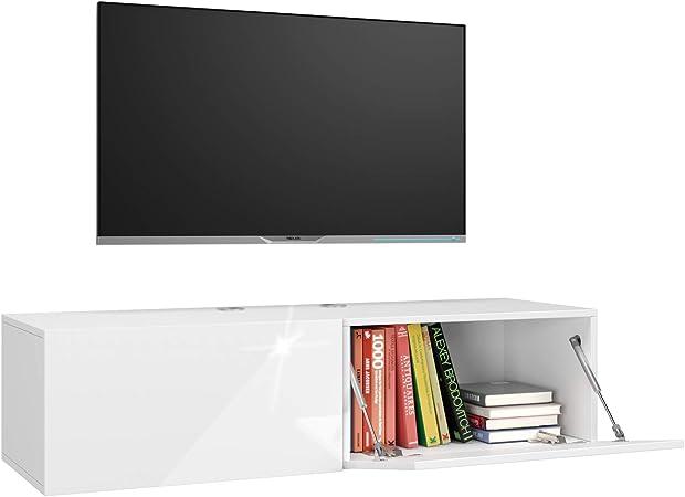 Oferta amazon: Homfa Mueble TV Blanco Mesa para TV Mueble Bajo para TV con 2 Armario de Almacenaje para Salón Dormitorio 120x40x30cm