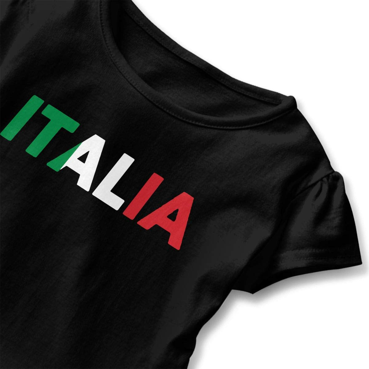 TCJX Italia Italy Italian Flag Toddler//Infant Girls Short Sleeve Ruffles Shirt Tee Jersey for 2-6 Toddlers