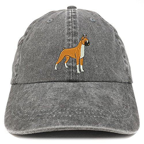 Trendy Apparel Shop Boxer Embroidered Dog Theme Low Profile Dad Hat Cotton Cap - Black