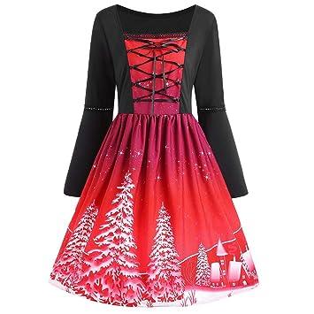 Niña Halloween fiesta carnaval,Sonnena ❤ Vestido estampado de Navidad con estampado de mujer