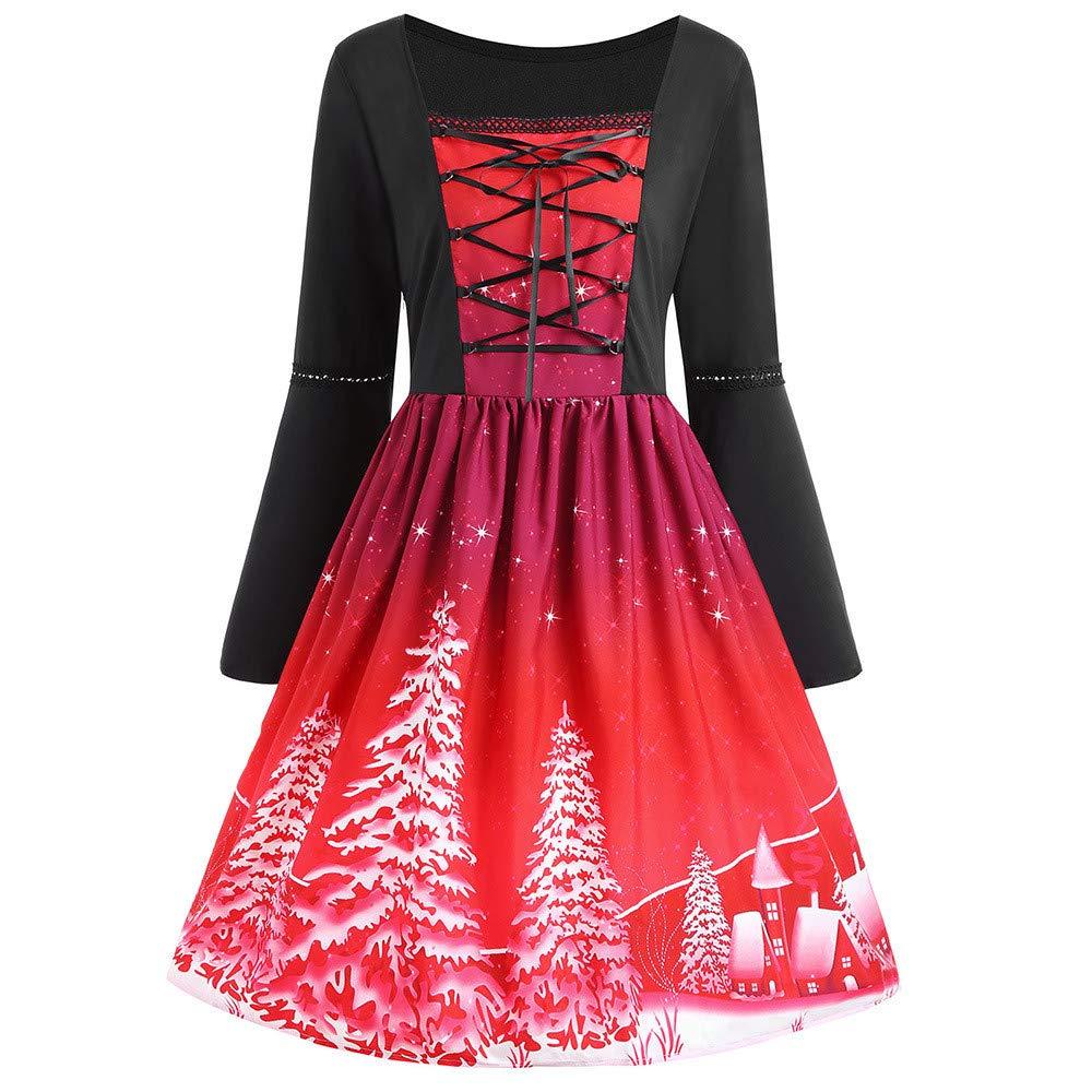 Style de Jeunesse Fantaisiez Robes de Noël Vintage Femmes Imprimé Bandage Croisé de Balançoire Manche Longue Grande Taille Violet Vin Rouge