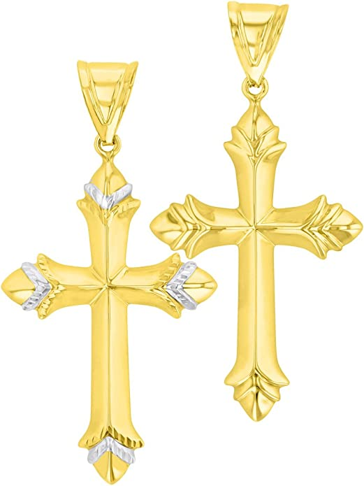 14K Yellow Gold Reversible Textured and Polished Trefoil Cross Pendant Necklace