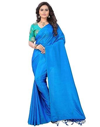 a3a211ec4415d e-VASTRAM Womens Plain Soft Art silk Tassel Saree With Unstitched Contrast  Embroidered Blouse(