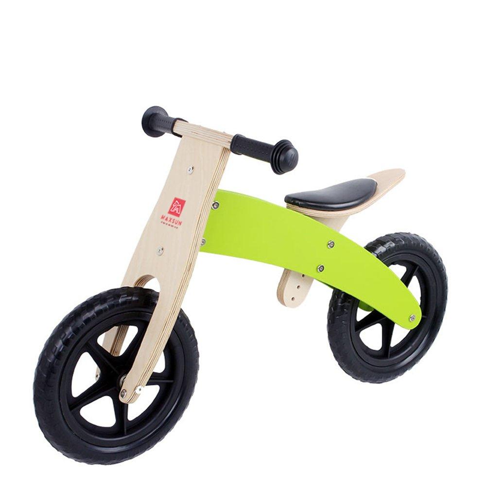 LVZAIXI 木製幼児バランシングカー、ベビーウォーキングスクーター、木製スライド、子供用自転車 (色 : 緑) B07CDQLLBM 緑 緑