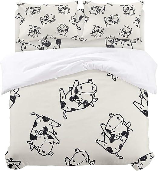 Luxury Cow Soft Duvet Cover Set Microfiber Pillowcase Bedsheet Full Queen King