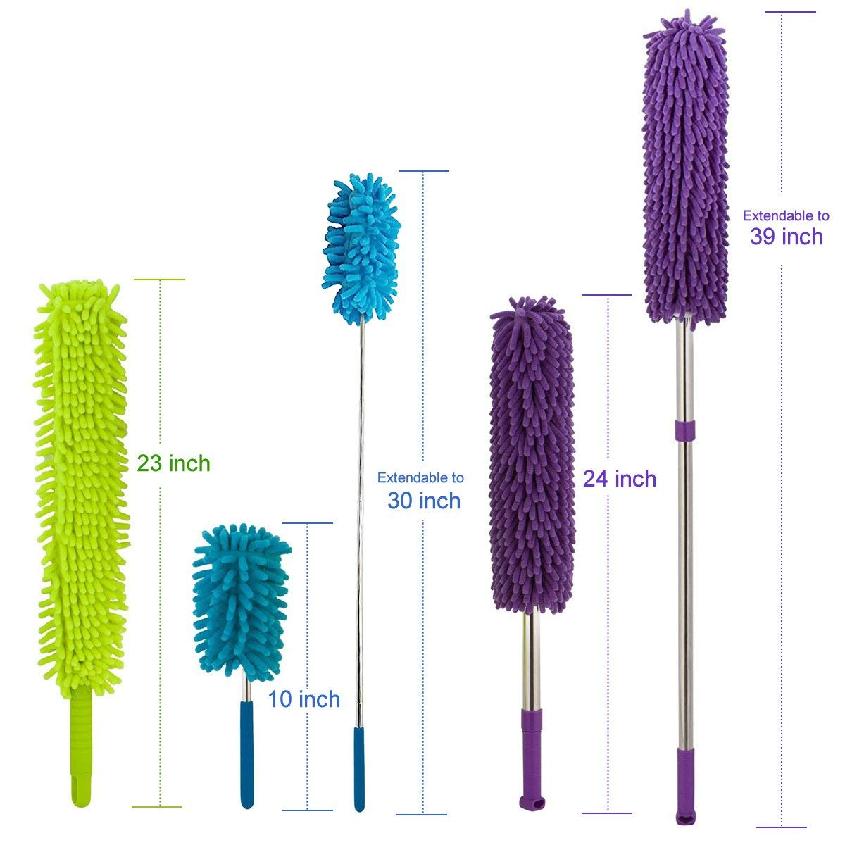 Radiator 1x Mini Telescopic Duster for Ceiling Fan 1x Extendable Duster with Telescopic Handle Microfiber Long Handled Dusters Set Window Cleaning Supplies Cobweb 3 Pack 1x Bendable Duster
