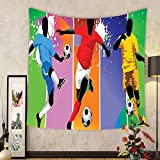 Gzhihine Custom tapestry Sports Decor Tapestry Soccer Design Elements With Four Player In Different Field Positions League Men Modern Graphic Bedroom Living Room Dorm Decor Multi