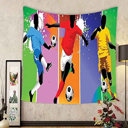 Gzhihine Custom tapestry Sports Decor Tapestry Soccer Design Elements With Four Player In Different Field Positions League Men Modern Graphic Bedroom Living Room Dorm Decor Multi by Gzhihine
