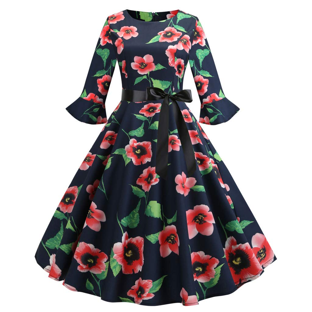 Nevera Women's Bell Three Quarter SleeveO Neck Floral Printing Vintage Gown Evening Party Dress with Tie Red