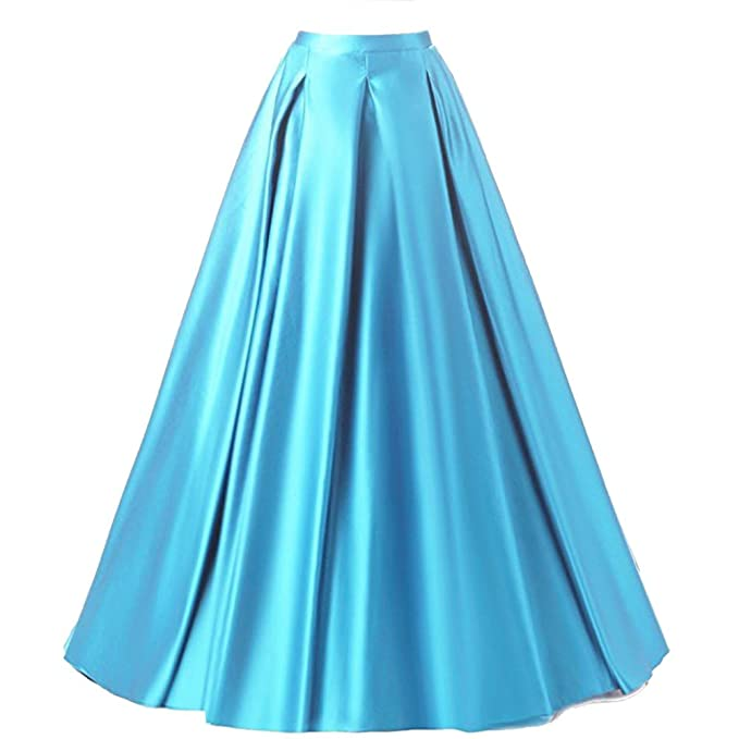 discount coupon attractive colour 2019 best Duraplast Women's Fashion Long Skirt Formal Satin A-Line Skirt High Waist