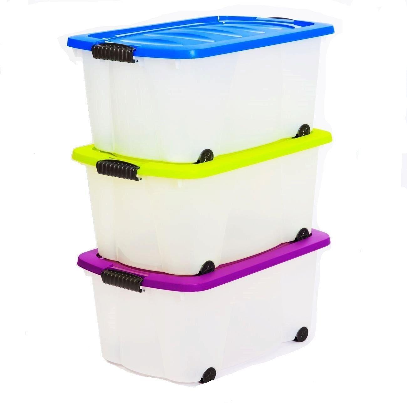 1 Aufbewahrungsbox mit Deckel und Rollen Größe: 45 Liter. In 3 ...