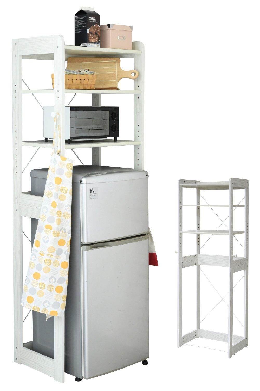 JKプラン 木製 冷蔵庫ラック 冷蔵庫の上に電子レンジ 幅60 cm 冷蔵庫上収納 レンジ台フック付き トースターラック ゴミ箱収納 キッチン収納 ホワイト 白 TSKKS00013WH B07BNBK8B2 ホワイト ホワイト