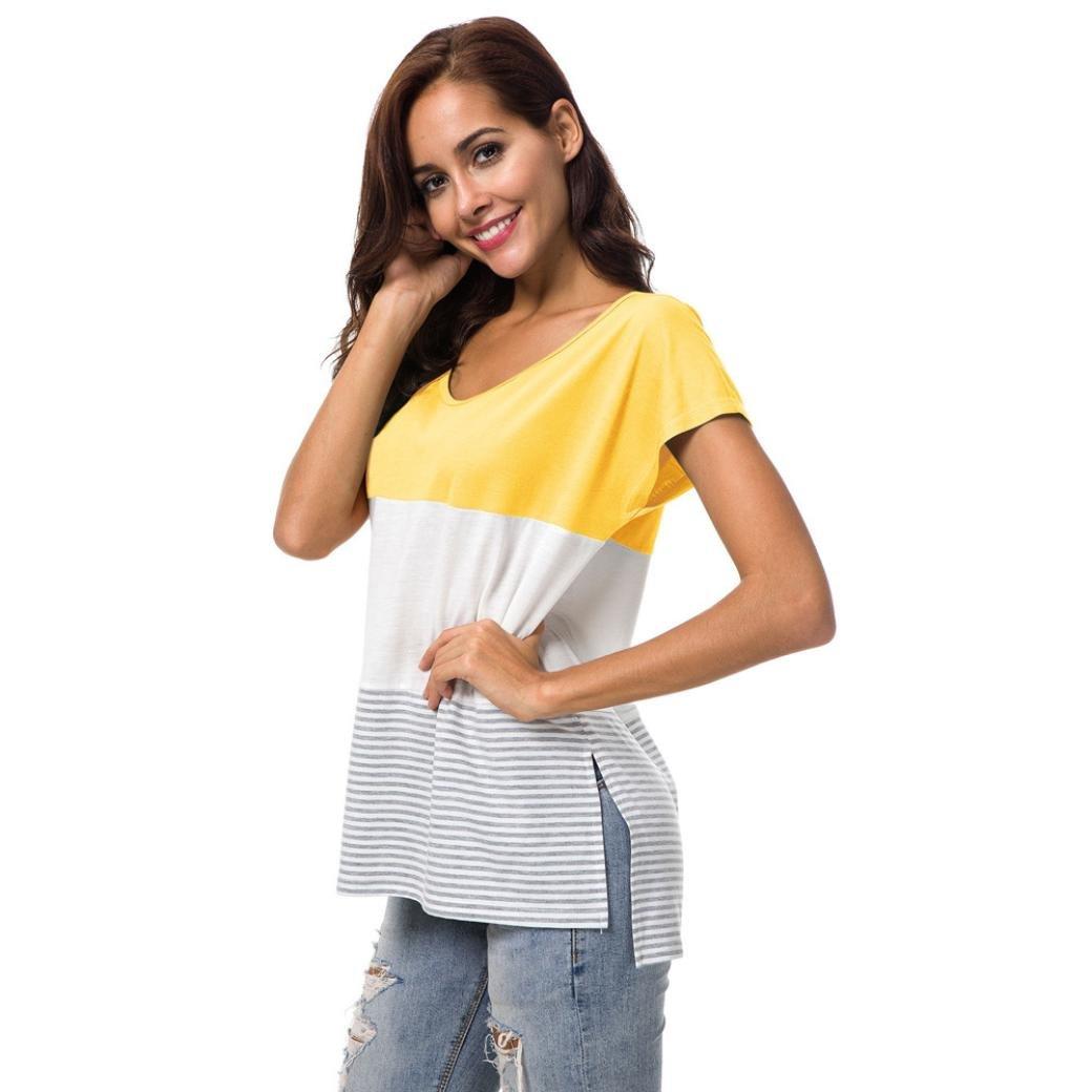 Camisetas de Manga Corta para Mujer Moda Camiseta Block Stripe Blusa Casual 2018 ❤ Manadlian: Amazon.es: Ropa y accesorios