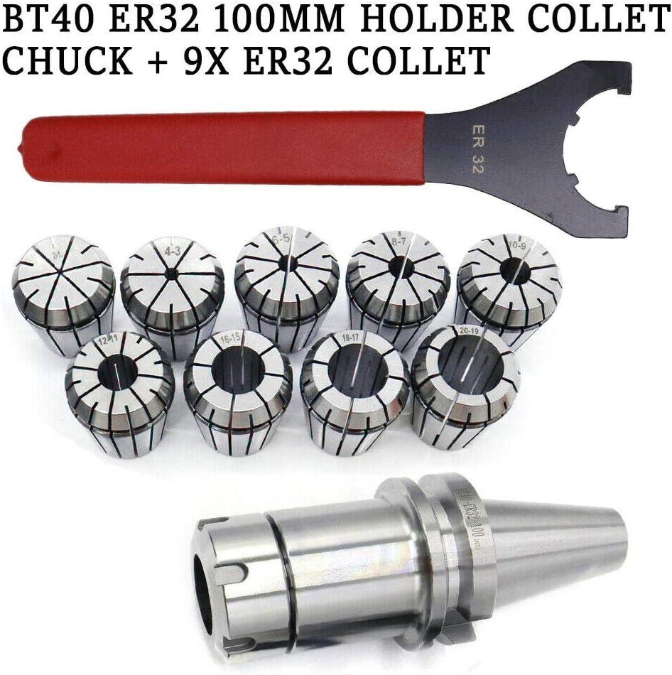 dispositivo de sujeci/ón para fresadoras y fresadoras CNC ER32 BT40 Juego de portabrocas con soporte de pinza y pinza ER32