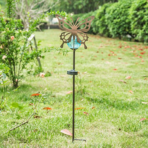 Outdoor Metal Solar Powered Garden Stake Lights With Orb and (Hummingbird Garden Stake)