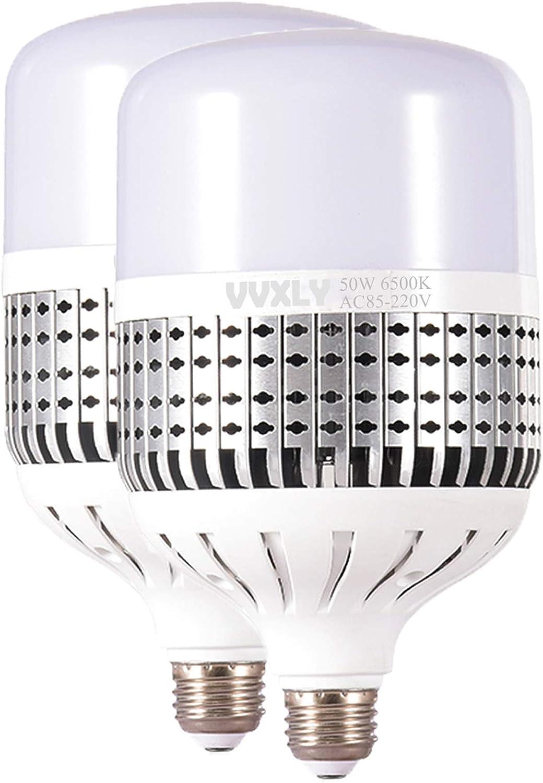 VVXLY 50W High Power LED Bulb, Daylight White 6500k LED Light Bulbs, 450W-500W Light Bulb Equivalent, E26 Medium Base High Watt Commercial Bulbs for Garage Warehouse Office Workshop, 2 Pack (White)