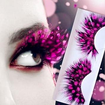 cb2bd21c0c2 Amazon.com : Stage Exaggerated Feathers False Eyelashes Colorful Eyelashes  Peacock Spot Shape Eye Lashes for Art Latin Party (spot, pink) : Beauty