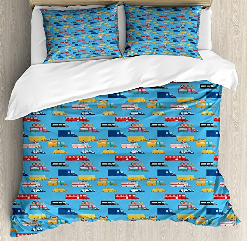 tion Queen Size Duvet Cover Set, Various Vehicles Cartoon Style Donut Fast Food Truck Fire Engine Police Car, Decorative 3 Piece Bedding Set with 2 Pillow Shams, Multicolor ()