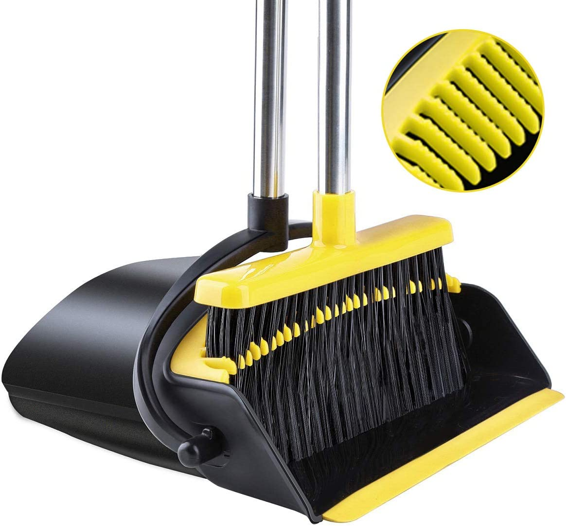 Broom and Dustpan Tiumso Dust pan Broom Set with Upgrade Combo and Sturdiest Extendable Long Handle,4 Layers Bristles,Upright Standing for Garden, Home, Office, Kitchen, Lobby(Black+Yellow)
