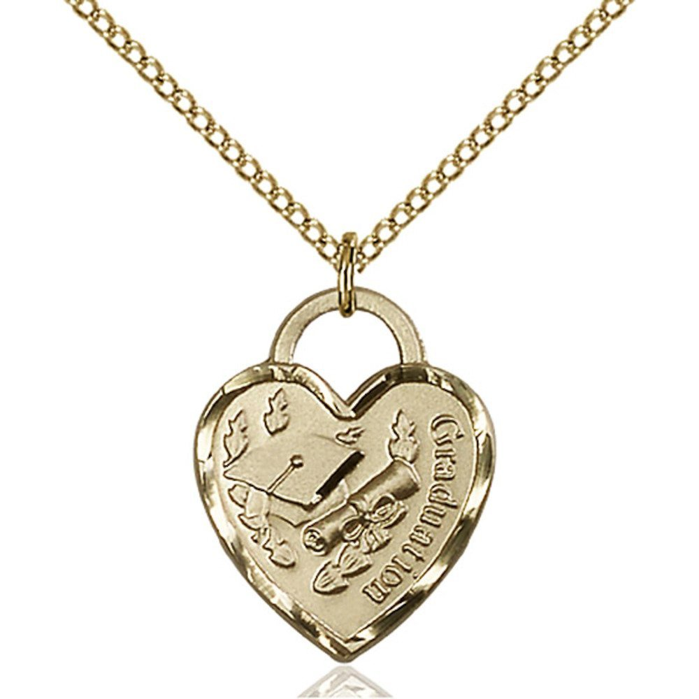 Gold Filled Graduation Heart Pendant 3/4 x 5/8 inches with Gold Filled Lite Curb Chain Bliss Manufacturing 3206GF/18GF