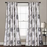 Lush Decor Multi Circles Room Darkening Window Curtain Panel Pair, 84″ x 52″, Charcoal For Sale