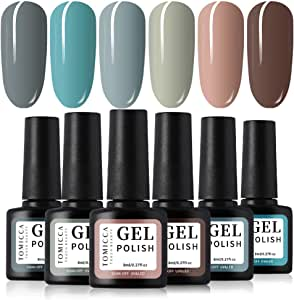 TOMICCA Gel Nail Polish Set 6 Colour Collection, Soak Off UV LED (F)