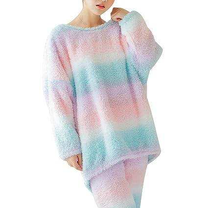 luoem pijama mujer invierno 2 piezas con manga larga Arcoíris de regalo Come Mostrato M