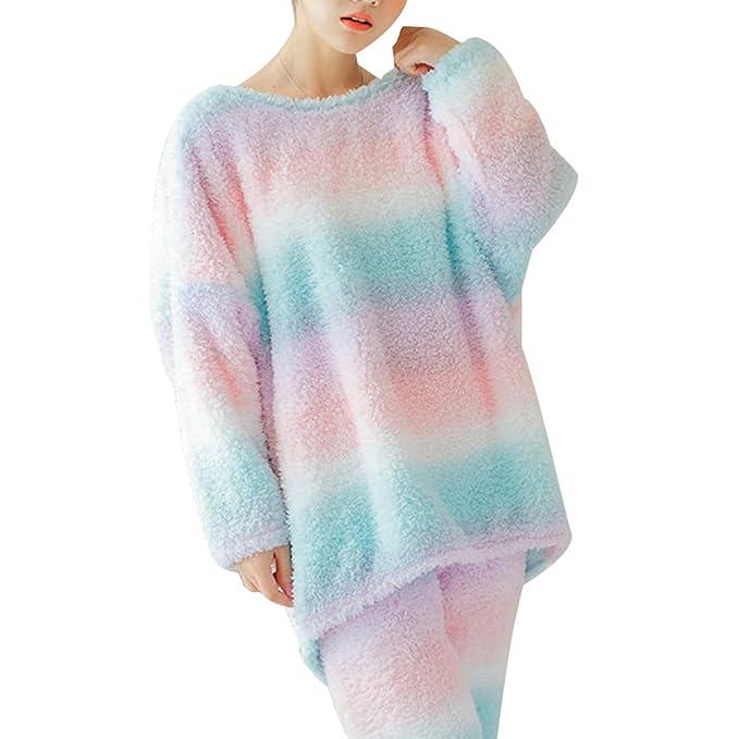 BESTOYARD Conjuntos de Pijama de Franela Para Mujer Invierno Acogedor Conjunto de Ropa de Noche Grueso
