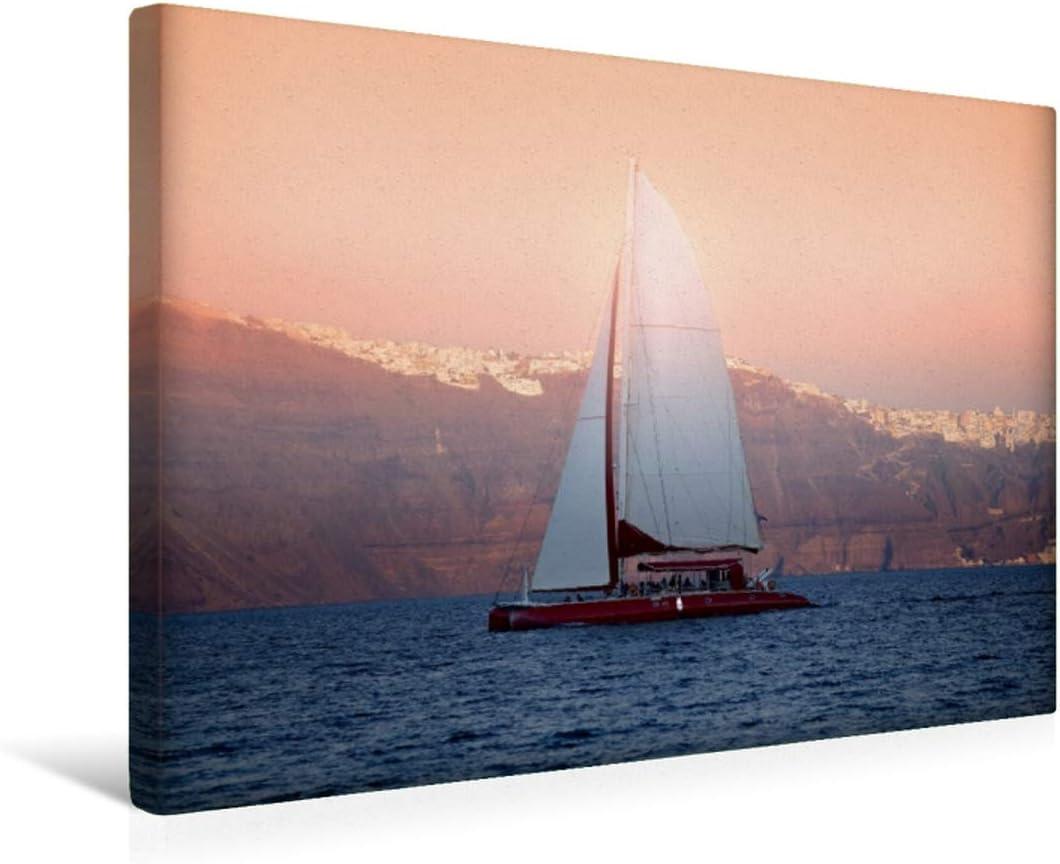 CALVENDO Premium Lienzo 45 cm x 30 cm Horizontal, Sunset Cruise, Imagen sobre Bastidor, Listo en Lienzo auténtico, impresión en Lienzo: Vela Antes de Santorini Orte Lugares
