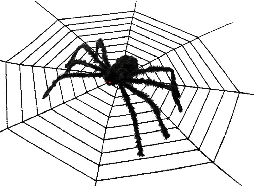 Halloween Outdoor Decorations, Hairy Scary Halloween Giant Spider with 12 Ft Round Spider Web for Indoor House Outdoor Yard Window Garden Decor (Black)