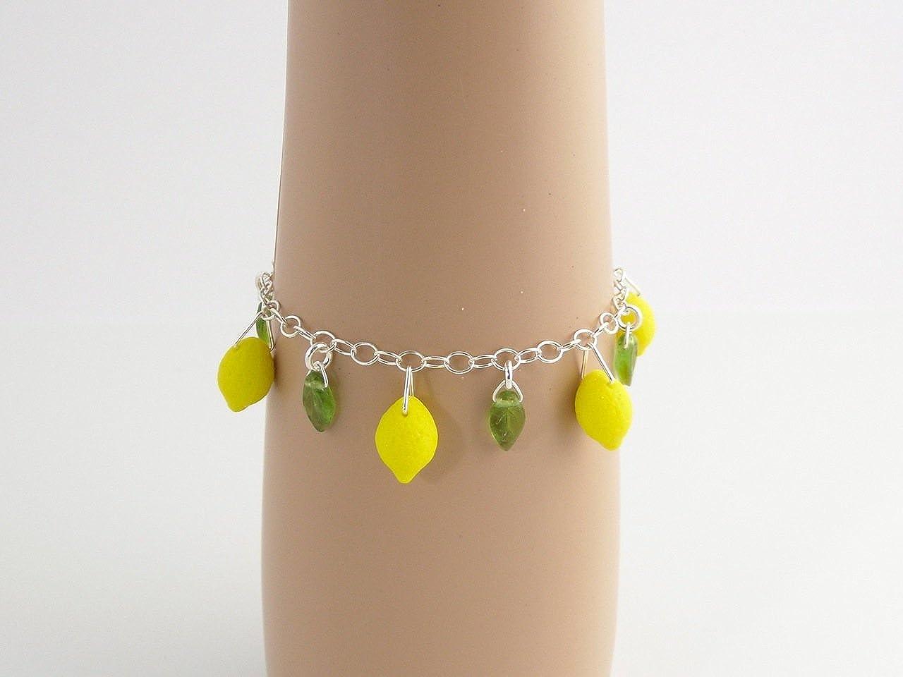 Sterling Silver Chain Lemon Grove Bracelet Size XS-XL Czech Glass Yellow Lemons and Green Leaves