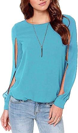 Blusas Mujer Primavera Otoño Elegantes Moda Único Pin-Up Camisa De Manga Larga Abiertas Ropa Cuello Redondo Colores Sólidos Slim Fit Camisas Tops: Amazon.es: Ropa y accesorios