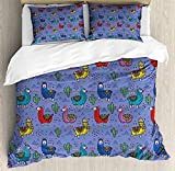 YOKOU Llama Duvet Cover Set 4 Piece Microfiber Comforter Quilt Bed Bedding Covers with Zipper, Ties - Cartoon Style Furry Animals with Mexican Folk Details Triangle and Cactus Kids Design